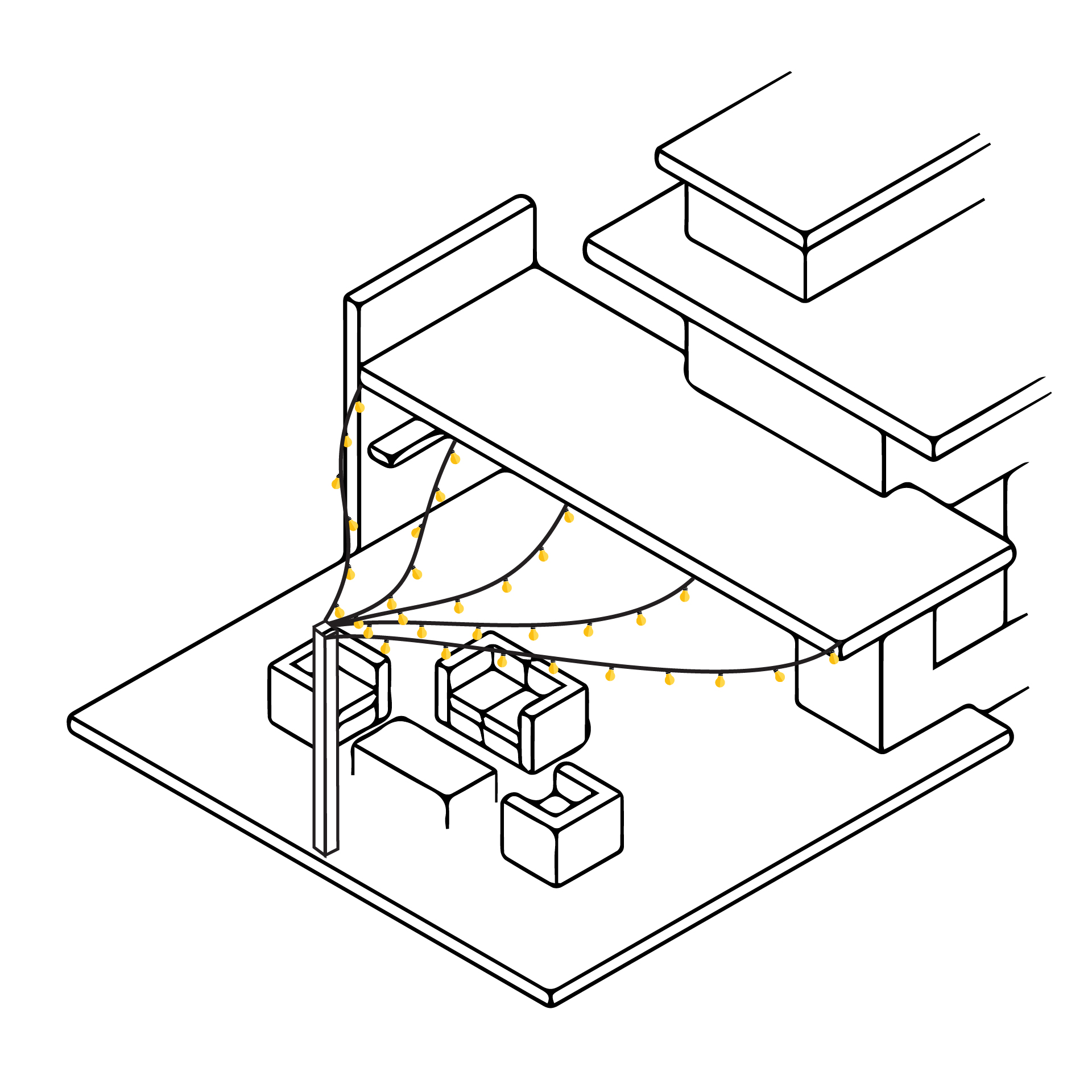 sposób zamontowania girlandy