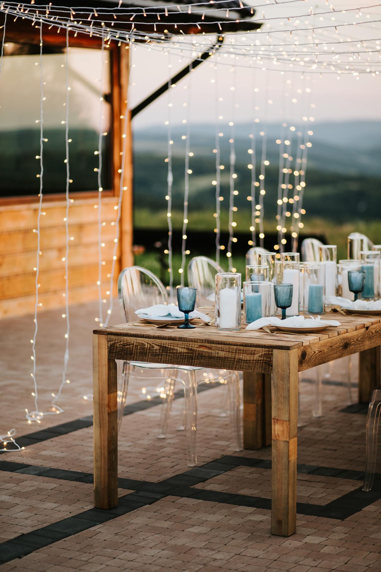 fairy lights na wesele, ślub w plenerze