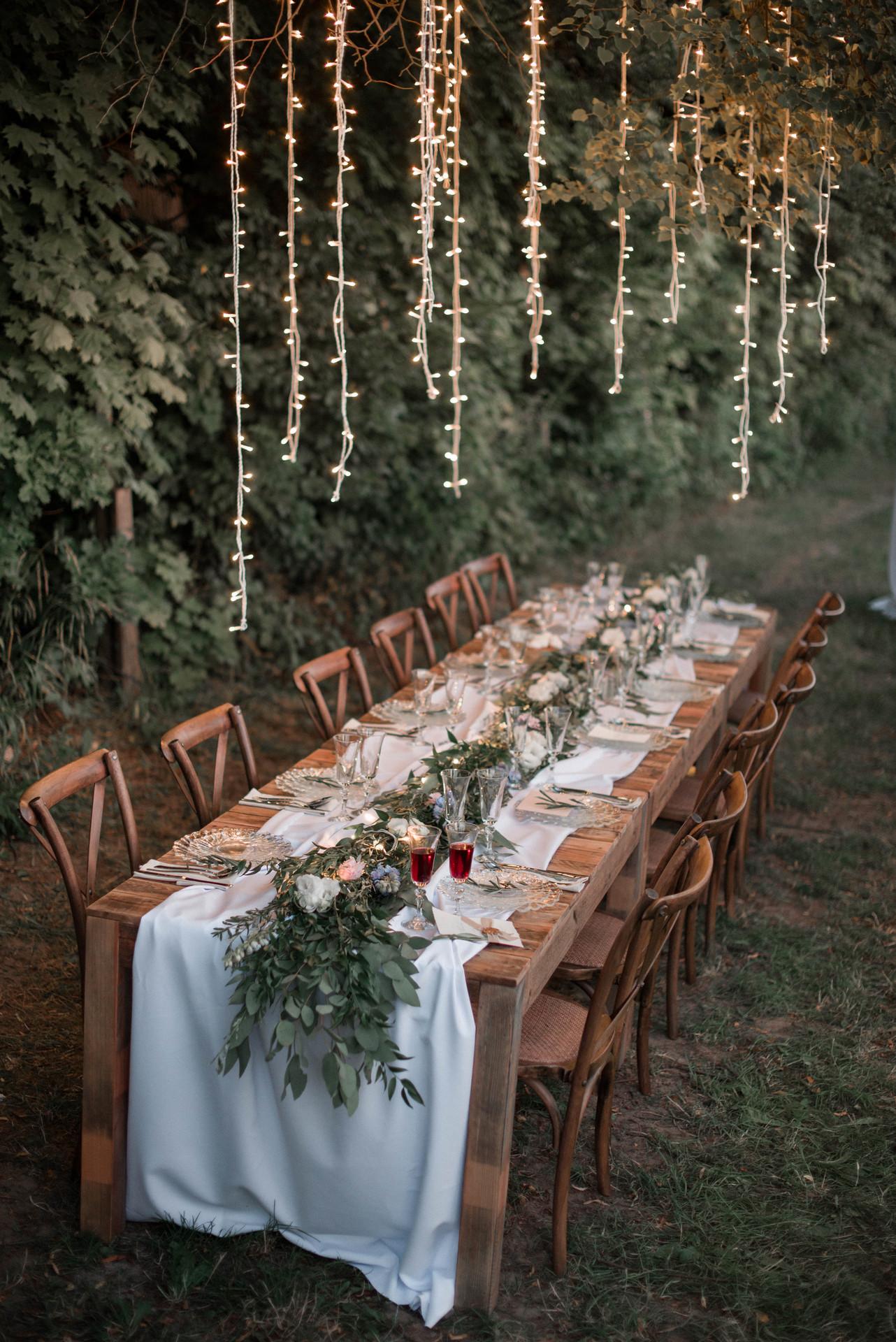 dekoracja stołu, slub zero waste