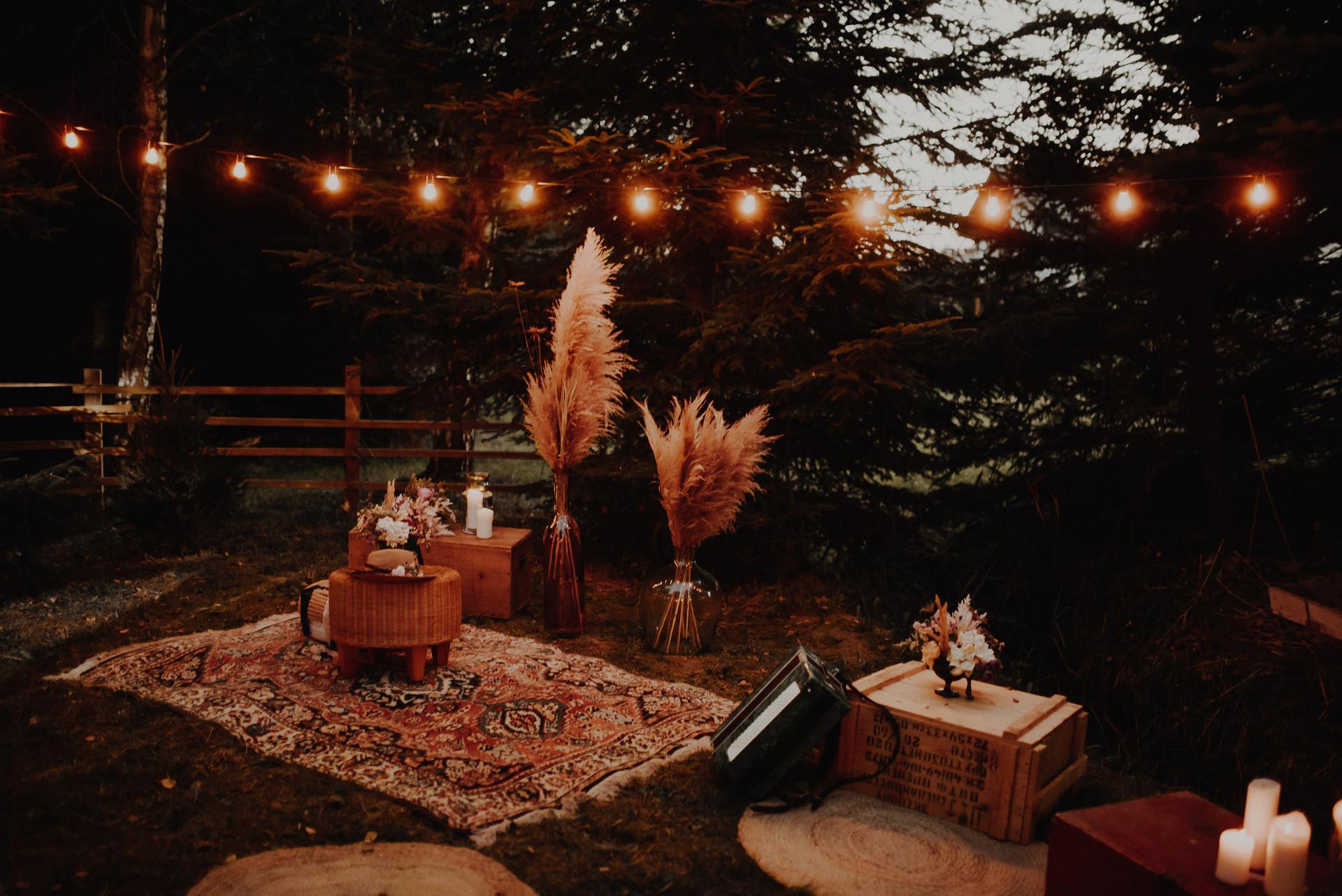 strefa relaksu boho na event i wesele