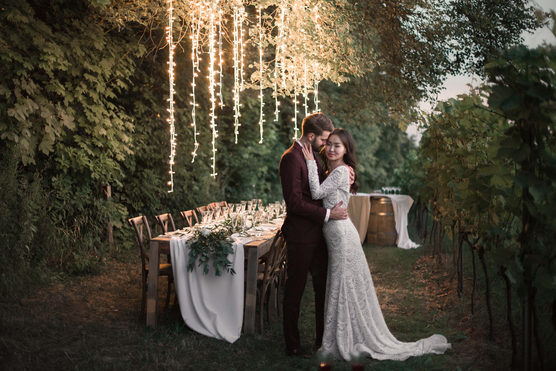 światełka fairy, wesele w plenerze