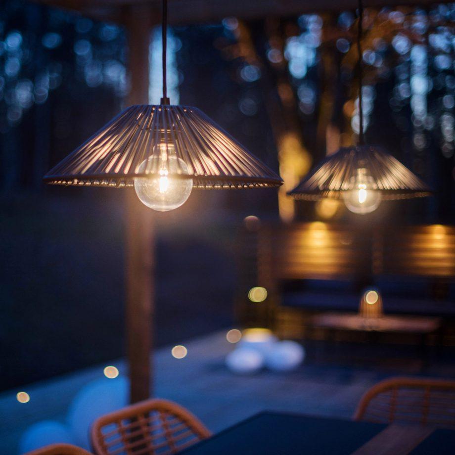 lampa ogrodowa - klosz technorattan